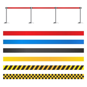 Retractable belt stanchion set. airport fence isolated. portable ribbon barrier for restriction and dangerous zones. red striped hazard fencing tape.
