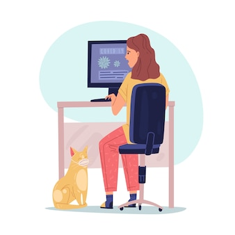 Иллюстрация извлечения вируса. девушка сидит у монитора и читает информацию о вирусе. кот в медицинской маске. плоский мультяшный стиль.