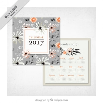 Retro 2017 calendar with watercolor flowers