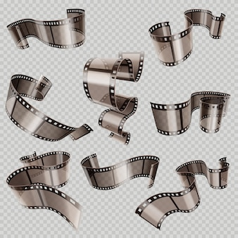 Retro 35mm foto and movie film roll vector set