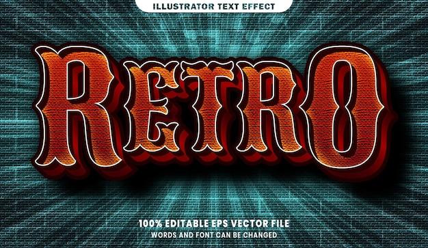 Эффект стиля ретро 3d редактируемого текста
