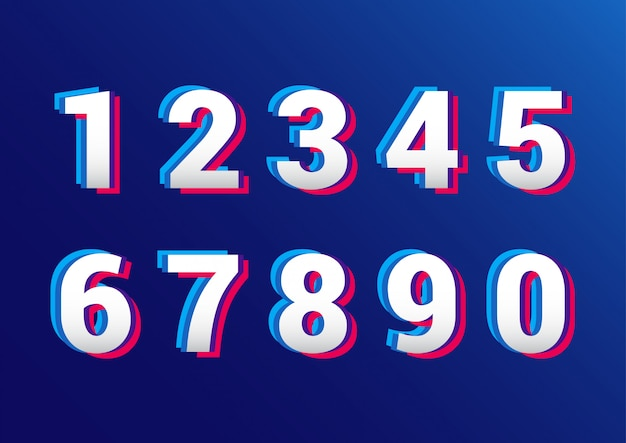 Retro 3d effect numbers set