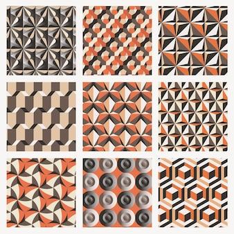 レトロな3d幾何学模様ベクトルオレンジ背景セット
