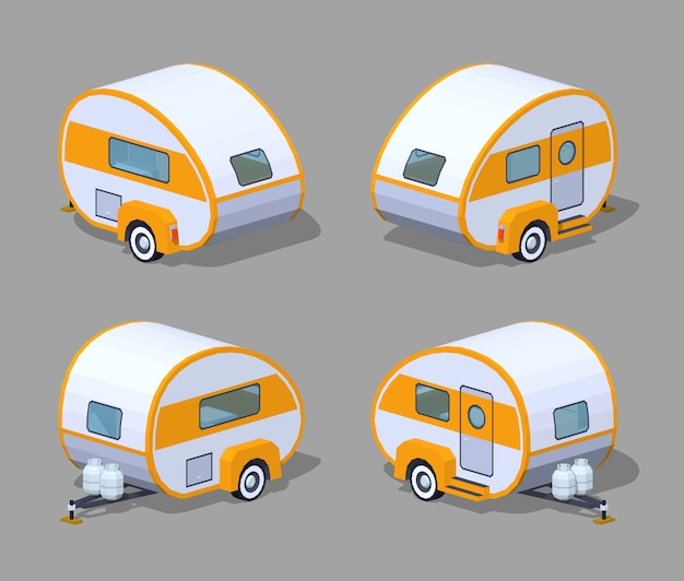 Retro 3d isometric motor home