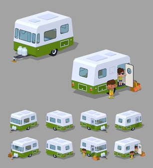 Retro 3d isometric rv camper