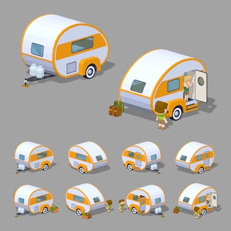 Retro 3d lowpoly isometric rv camper