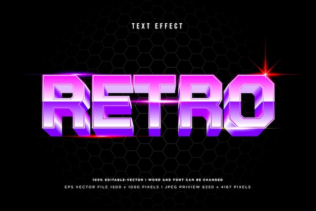 Retro 3d text effect on black background