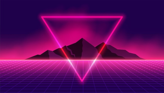 Sfondo retrò anni '80 con triangolo al neon e montagna