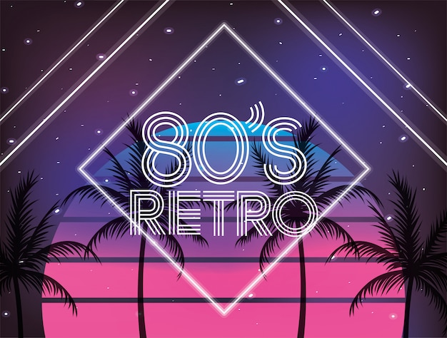 Retro 80s geometric style and plams