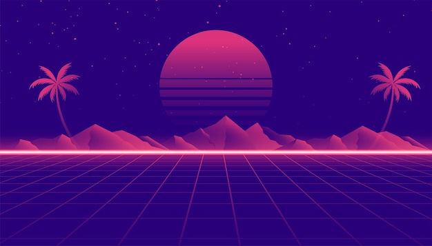 게임 스타일의 레트로 80년대 풍경 장면