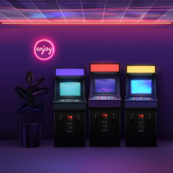Retro 80s realistic arcade machines in the room with neon lights