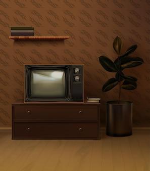 Retro 80s realistic black tv set in the room