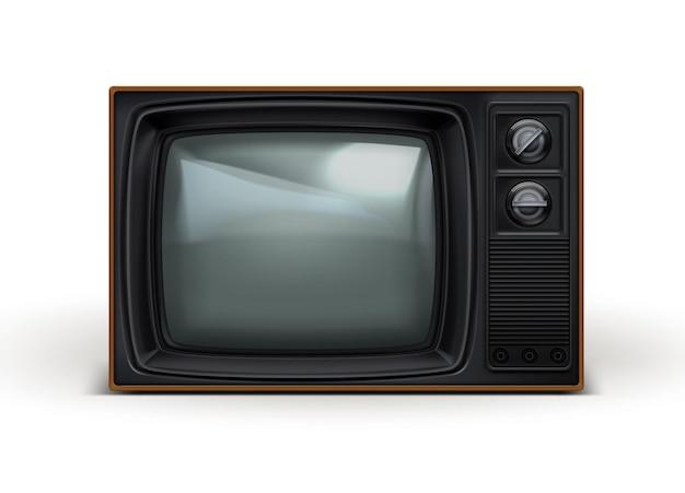 Retro 80s realistic black tv set