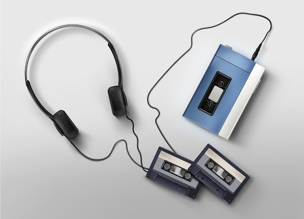 Retro 80s realistic blue tape player with headphones and cassettes