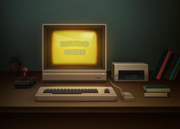 Ретро 80-х реалистичный серый компьютер на офисном столе