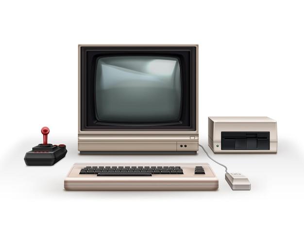 레트로 80 년대 현실적인 회색 컴퓨터