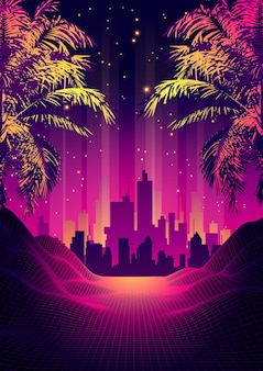 Retro 80s style tropical sunset with palm tree silhouette and gradient sky background. classic 80s retro design. digital landscape cyber surface.