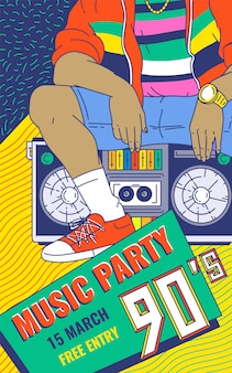 Retro 90s music party colorful background cartoon sketch vector illustration.
