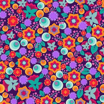 Retro abstract floral print vector seamless pattern with cute and bright simple flowers