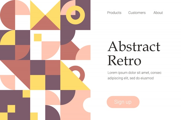 Retro abstract geometric design for website template or landing page