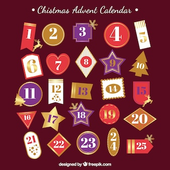 Retro advent calendar with different shapes