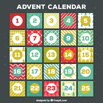 Retro advent calendar with typical elements