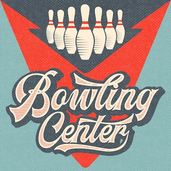 Retro advertising bowling poster. vintagestyle