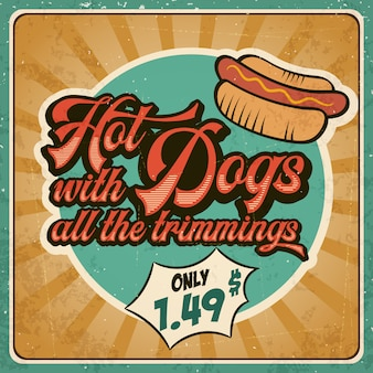 Retro advertising restaurant sign for hot dogs. vintage style