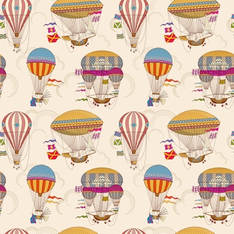 Retro air hot balloons seamless childrens vector background
