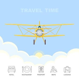 青い空の雲の中を飛んでいるレトロな飛行機。空の旅。ホテル、レストラン、パスポート、地図、荷物のアイコンが分離されました