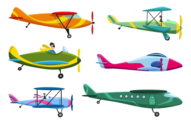 Retro airplane set. collection of old aiplane aircraft. different types of plane. icons illustration