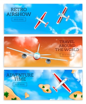 Retro airshow and travel agency airlines advertisement flying aircraft