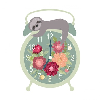 Retro alarm clock with cute sleeping sloth isolated on white background.