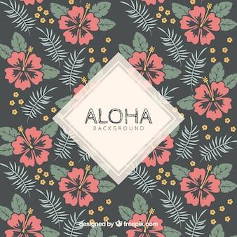 Retro aloha background with pretty flowers