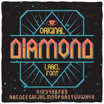 Ретро алфавит и шрифт метки под названием diamond.