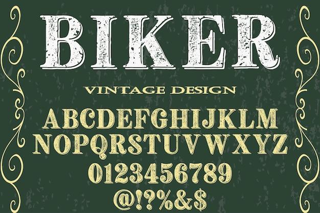 Retro alphabet font design biker