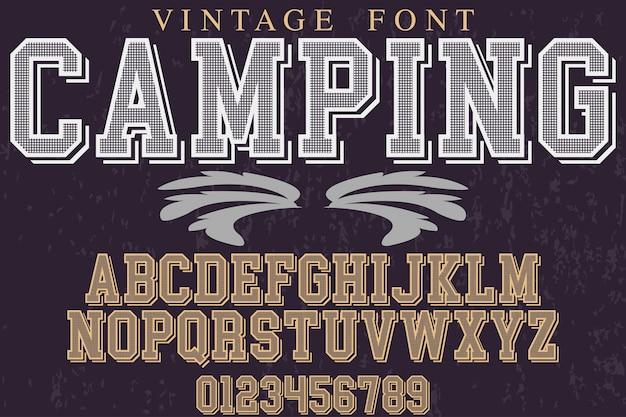 Retro alphabet label design camping