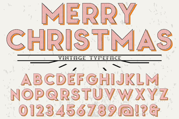 Retro alphabet label design merry christmas