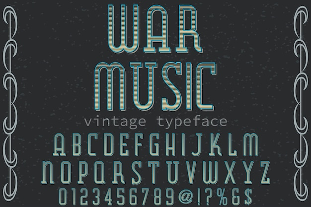 Retro alphabet label design war musik
