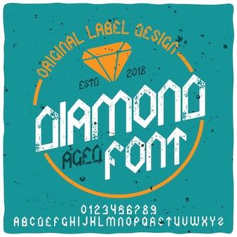 Carattere tipografico retrò alfabeto ed etichetta con diamante.