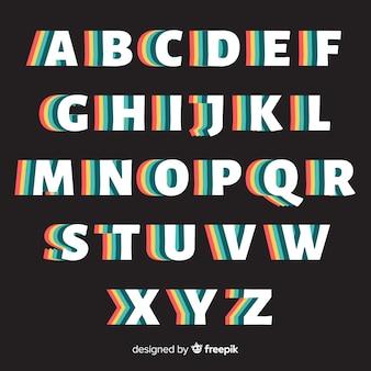 Retro alphabet template retro style