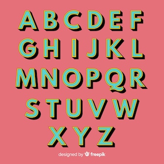 Retro alphabet template retro style