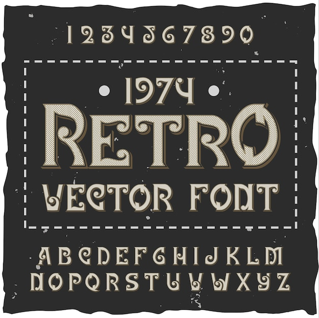 Retro alphabet with editable ornate text with isolated font digits and letters