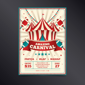Retro amazing carnival in white and red with ribbons