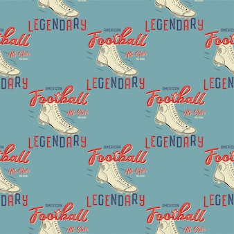 Retro american footnall pattern. college rugby seamless graphic in retro style with old boots and quote - legendary. sports print on a blue background.