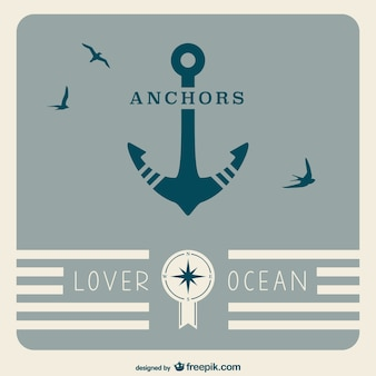 Retro anchor nautical poster