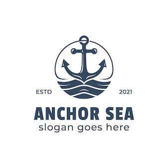 Retro anchor symbol in sea or ocean logo illustration