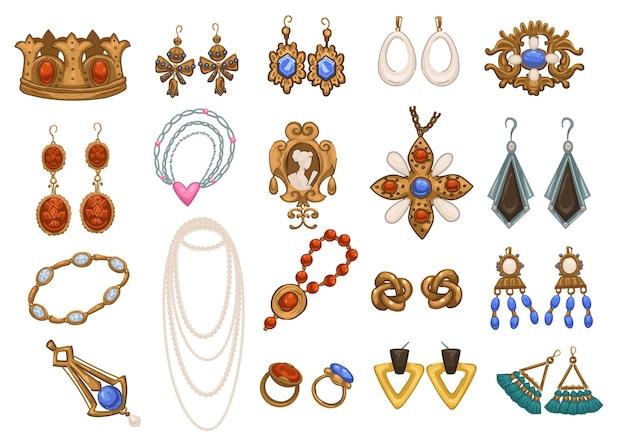 女性向けのレトロでヴィンテージなアクセサリーやジュエリー、孤立したイヤリングとネックレス、ブローチとブレスレット、ペンダントとチャーム。高貴な人々のための金と銀の宝物。フラットスタイルのベクトル