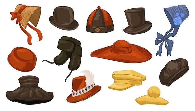 男性と女性のためのレトロでヴィンテージな帽子、昔はさまざまな国で着用されていた孤立したキャップ。中国とバロックのデザイン、70年代と60年代のシンプルなアクセサリーの服。フラットスタイルのベクトル