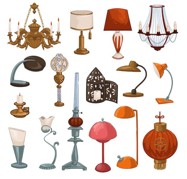 レトロとヴィンテージのランプと光源、キャンドル付きの孤立したシャンデリア、50年代のランプシェード。赤い中国と現代の電球。家のインテリアのための装飾と家具。フラットスタイルのベクトル